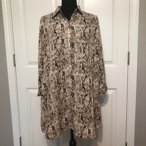 NWT Cloud Ten Snake Print Button Down Tunic Dress